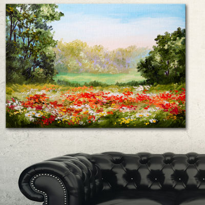 Designart Poppy Field With Sky Landscape Art PrintCanvas