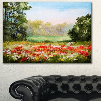 Designart Poppy Field With Sky Landscape Art PrintCanvas - 3 Panels