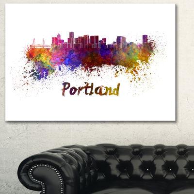 Designart Portland Skyline Cityscape Canvas Artwork Print