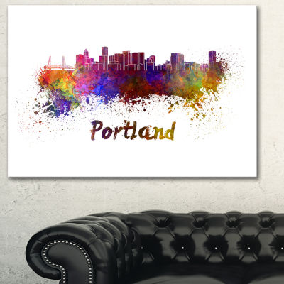 Designart Portland Skyline Cityscape Canvas Artwork Print - 3 Panels