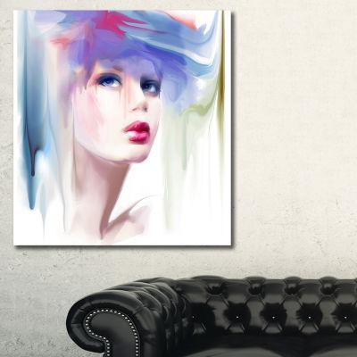Designart Portrait Of Beautiful Girl Portrait Canvas Art Print