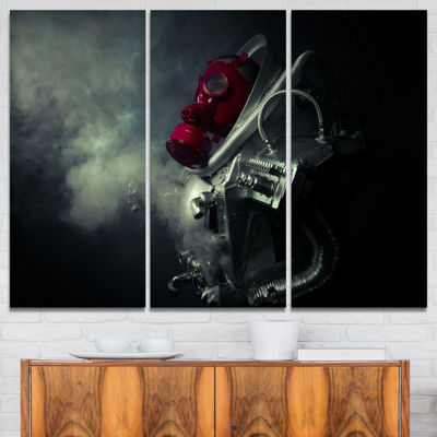 Designart Post Apocalyptic Survivor Abstract Portrait Canvas Print - 3 Panels