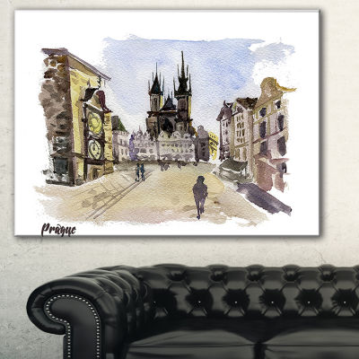 Designart Prague Hand Drawn Illustration CityscapePainting Canvas Print