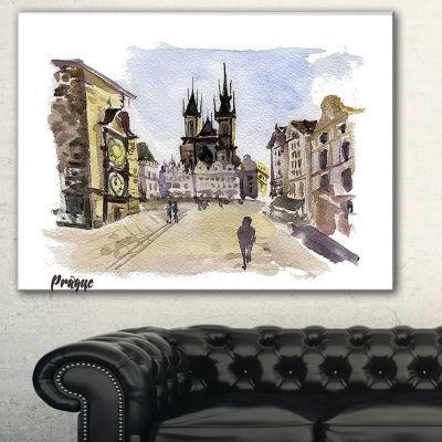Designart Prague Hand Drawn Illustration CityscapePainting Canvas Print - 3 Panels