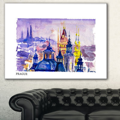 Designart Prague Vector Illustration Cityscape Painting Canvas Print - 3 Panels