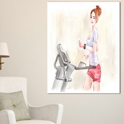Designart Pretty Workout With Fitness Watch Abstract Print On Canvas - 3 Panels