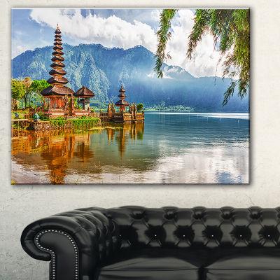 Designart Pura Ulun Danu Cityscape Photography Canvas Art Print - 3 Panels