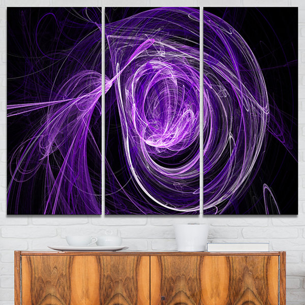 Design Art Purple Ball Of Yarn Abstract Canvas ArtPrint - 3 Panels