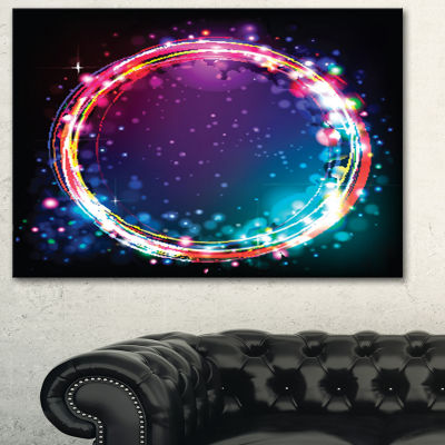 Designart Purple Blue Circle Lights Abstract ArtPrint - 3 Panels