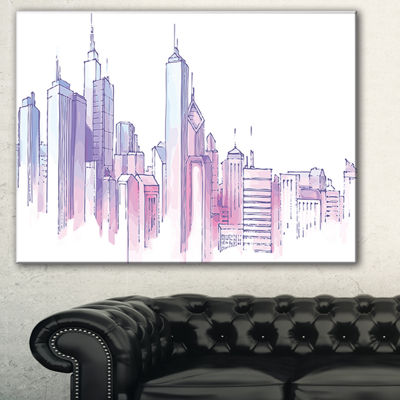 Designart Purple City Skyline Cityscape PaintingCanvas Print - 3 Panels