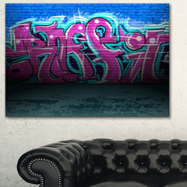 Designart Purple Graffiti Wall Street Art Canvas Art Print