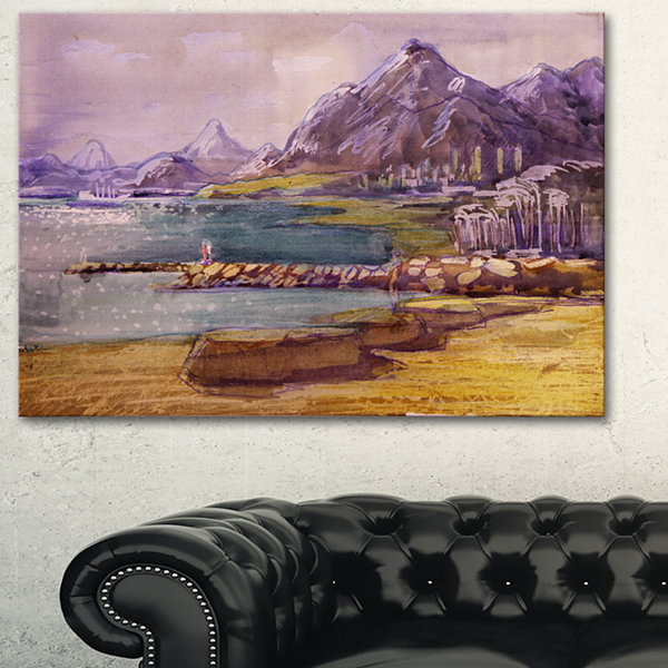 Designart Purple Hills Landscape Art Print Canvas