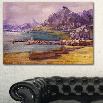 Designart Purple Hills Landscape Art Print Canvas-3 Panels