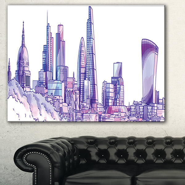 Designart Purple London Skyline Cityscape PaintingCanvas Print - 3 Panels