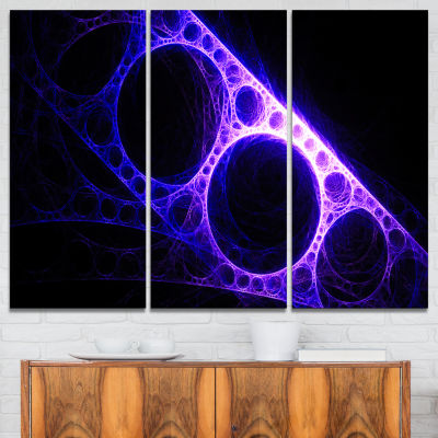 Design Art Purple Metal Construction Abstract Canvas Art Print - 3 Panels