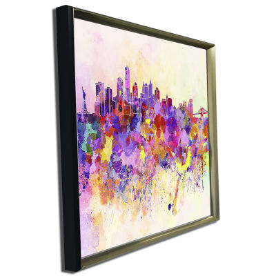 Designart Purple New York Skyline Cityscape CanvasArt Print