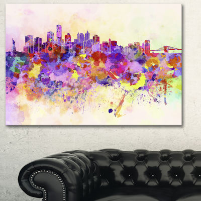 Designart Purple New York Skyline Cityscape CanvasArt Print - 3 Panels