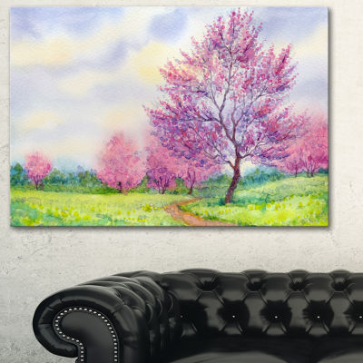 Designart Purple Spring Landscape Floral Art Canvas Print - 3 Panels