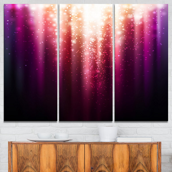 Design Art Purple With Magic Light Abstract CanvasArtwork - 3 Panels
