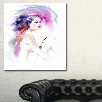 Designart Purple Woman Portrait Canvas Art Print