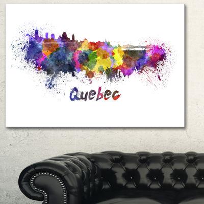 Designart Quebec Skyline Cityscape Canvas ArtworkPrint - 3 Panels