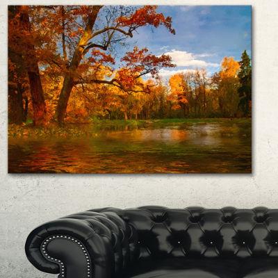 Designart Quiet And Silent Autumn Landscape Art Print Canvas - 3 Panels