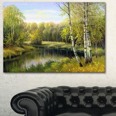 Designart Quiet Autumn River Landscape Art Print Canvas