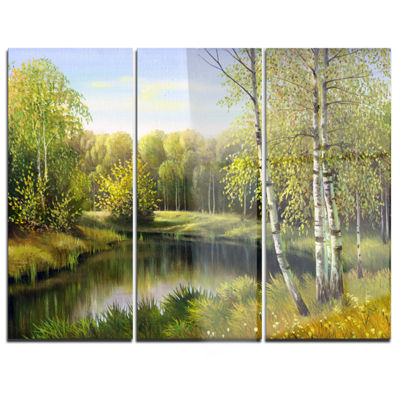 Designart Quiet Autumn River Landscape Art PrintCanvas - 3 Panels