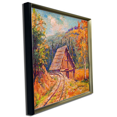 Designart Railway Track In Village Landscape Art Print Canvas