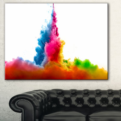 Designart Rainbow Colors Explosion Abstract Watercolor Canvas Print - 3 Panels