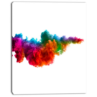 Designart Rainbow Explosion Art Abstract Watercolor Canvas Print