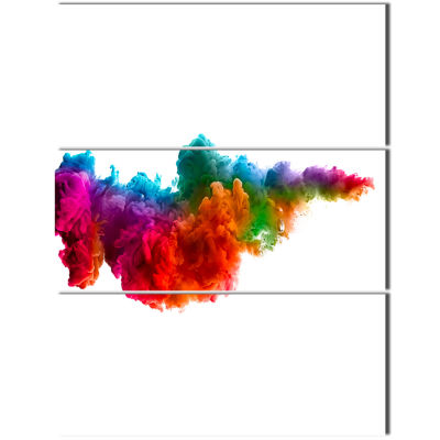 Design Art Rainbow Explosion Art Abstract Watercolor Canvas Print - 3 Panels