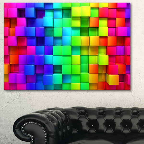 Designart Rainbow Of Colorful Boxes Abstract Canvas Artwork