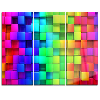 Designart Rainbow Of Colorful Boxes Abstract Canvas Artwork - 3 Panels