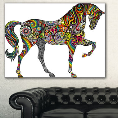 Designart Rainbow Patterned Horse Animal Canvas Art Print