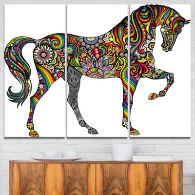 Designart Rainbow Patterned Horse Animal Canvas Art Print - 3 Panels