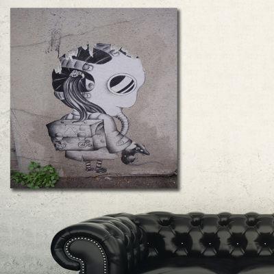 Designart Rat Catcher Robot Street Art Canvas ArtPrint - 3 Panels