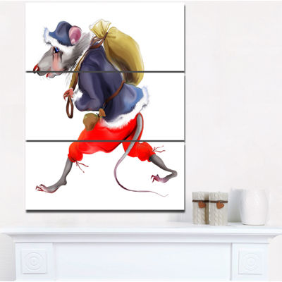 Designart Rat In Santa S Dressing Abstract PrintOnCanvas - 3 Panels