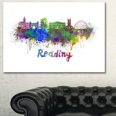 Designart Reading Skyline Cityscape Canvas ArtworkPrint - 3 Panels