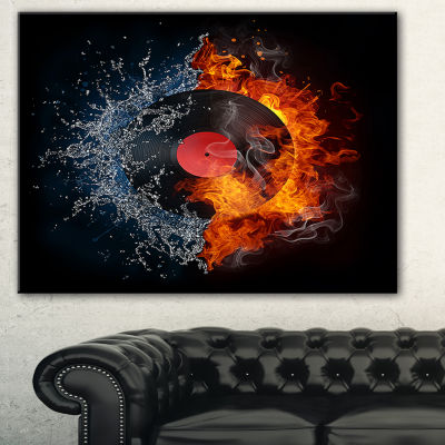 Designart Record Abstract Abstract Print On Canvas- 3 Panels