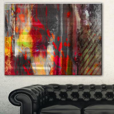 Designart Red Decorative Design Abstract Canvas Art Print - 3 Panels