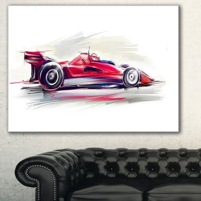 Designart Red Formula One Car Digital Art Car Canvas Print - 3 Panels