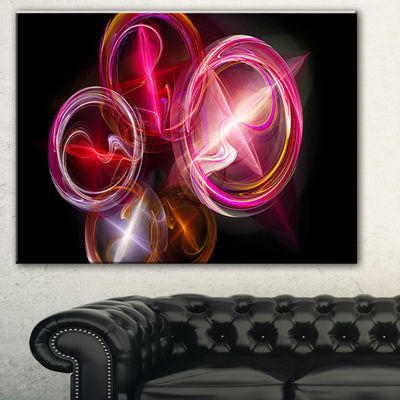 Designart Red Fractal Desktop Abstract Canvas ArtPrint - 3 Panels