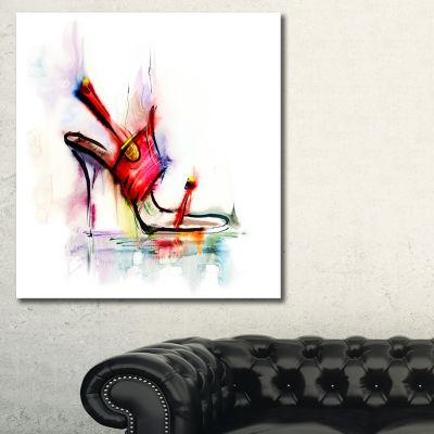 Designart Red High Heel Shoe Abstract Canvas Art Print