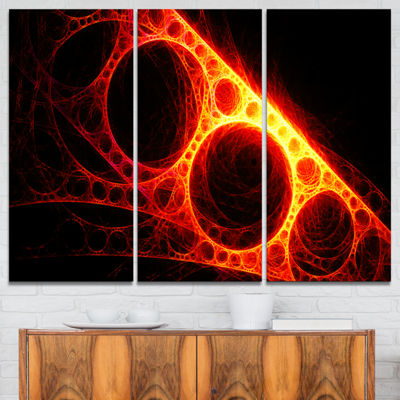 Designart Red Metal Construction Abstract CanvasArt Print - 3 Panels