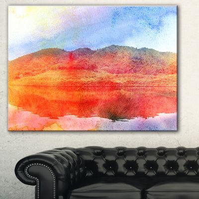 Designart Red Retro Island Watercolor Landscape Painting Canvas Print - 3 Panels