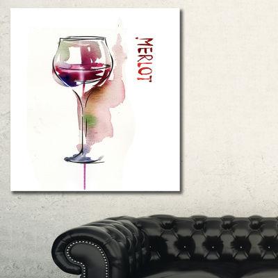 Designart Red Wine Contemporary Artwork - 3 Panels