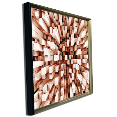 Designart Reflective Checkered Cube Contemporary Art Print