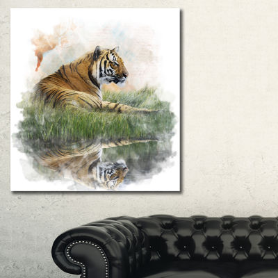 Designart Relaxing Tiger Animal Art Painting - 3Panels