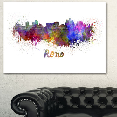 Designart Reno Skyline Cityscape Canvas Artwork Print